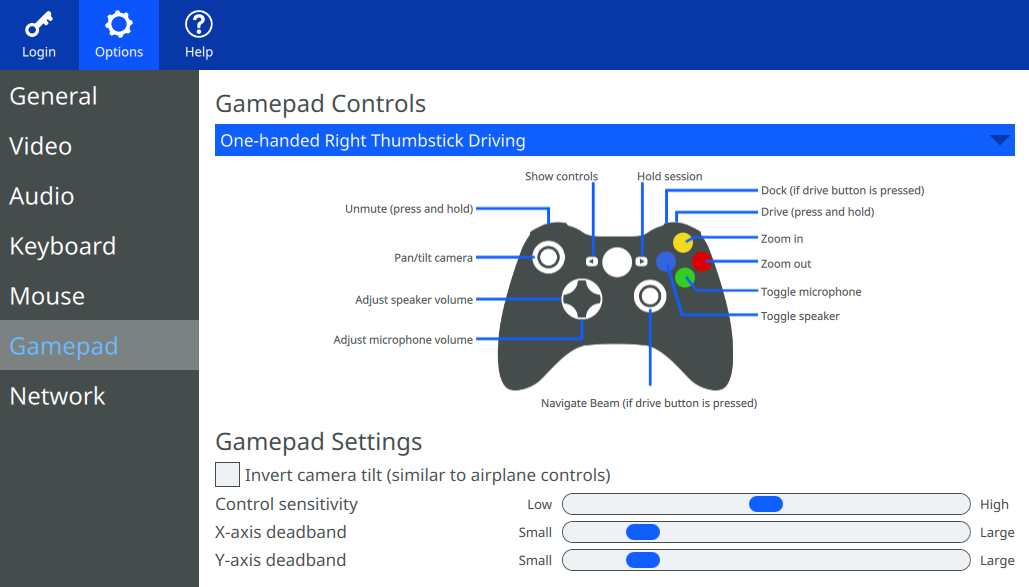 OptionsTab Gamepad